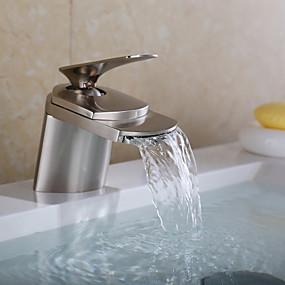 billige Vandhaner til badeværelset-Håndvasken vandhane - Vandfald Nikkel Børstet Centersat Et Hul / Enkelt håndtag Et HulBath Taps
