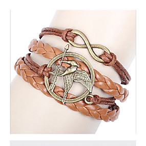 baratos Pulseiras Vintage-Pulseira Multi Camadas Corda Empilhável Pássaro Nota Musical Animal senhoras Amuleto Vintage Europeu Multi Camadas Liga Pulseira de jóias Para Casual