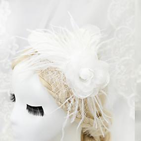 baratos Clássico-Mulheres Menina das Flores Penas Chifon Capacete-Casamento Ocasião Especial Fascinador 1 Peça