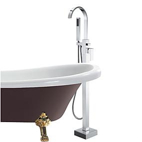 cheap Bathtub Faucets-Bathtub Faucet - Contemporary Chrome Tub And Shower Ceramic Valve Bath Shower Mixer Taps / Single Handle One Hole