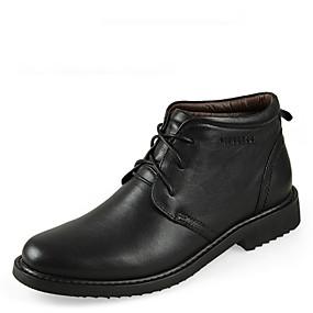 baratos Botas Masculinas-Homens Sapatos de couro Couro Outono / Inverno Botas 5.08-10.16 cm / Botas Cano Médio Preto / Marron / Cadarço / EU41