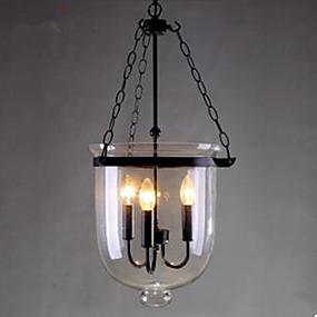 billige Hengelamper-3-Light Anheng Lys Omgivelseslys Malte Finishes Metall Glass LED 110-120V / 220-240V Gul Pære ikke Inkludert