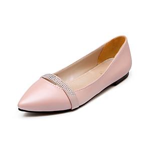 abordables Chaussures Plates pour Femme-Femme Chaussures Similicuir Printemps / Eté Confort Talon Plat Paillette Brillante / Combinaison Beige / Violet / Rose