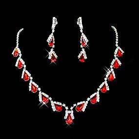 Χαμηλού Κόστους Κοσμήματα&Ρολόγια-Γυναικεία Κόκκινο Συνθετικό ρουμπίνι Αχλάδι Briolette Κοσμήματα Σετ Cubic Zirconia, Προσομειωμένο διαμάντι Κρεμαστό κυρίες, Πάρτι, Κομψό, Καθημερινό Περιλαμβάνω Κρεμαστά Κολιέ Σκουλαρίκι Κόκκινο Για
