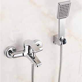 cheap Bathtub Faucets-Shower Faucet / Bathtub Faucet - Contemporary Chrome Tub And Shower Ceramic Valve Bath Shower Mixer Taps / Single Handle Two Holes