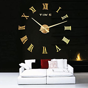 cheap 50% OFF-Oversized Metal Electroplate Home Decor DIY Round Wall Clock