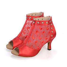 Γυναικεία Παπούτσια σάλσα Ελαστικό ύφασμα Πέδιλα   Μπότες   Τακούνια Καρφιά    Σατέν Λουλούδι   Φερμουάρ Τακούνι καμπάνα Εξατομικευμένο Παπούτσια Χορού  Μαύρο ... 519f002ee02