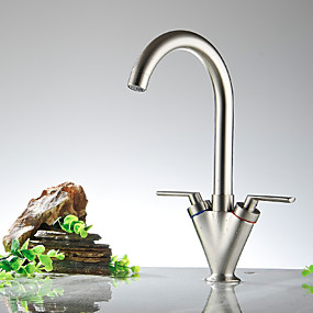 cheap Kitchen Faucets-Kitchen faucet - Two Handles One Hole Nickel Polished Bar / ­Prep Widespread