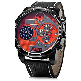 ราคาถูก -0.1-JUBAOLI สำหรับผู้ชาย นาฬิกาทหาร นาฬิกาข้อมือ นาฬิกาอิเล็กทรอนิกส์ (Quartz) ที่มีขนาดใหญ่ หนัง ดำ / ฟ้า / แดง นาฬิกาใส่ลำลอง ระบบอนาล็อก เสน่ห์ - สีเหลือง แดง ฟ้า หนึ่งปี อายุการใช้งานแบตเตอรี่