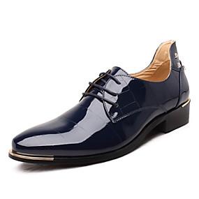 baratos Oxfords Masculinos-Homens Sapatos formais Microfibra Primavera / Outono Negócio Oxfords Preto / Azul Real / Vermelho / Casamento / Festas & Noite / Cadarço / Festas & Noite / Sapatos Confortáveis