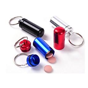 billige Lagring og oppbevaring-vanntett liten metallbeholder aluminium pille boksen holder nøkkelring medisin pakking flaske