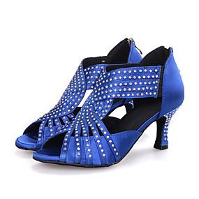 abordables Chaussures de Danse-Femme Chaussures Latines Tissu élastique Sandale / Talon Strass / Paillette Brillante / Fermeture Talon Bobine Personnalisables Chaussures de danse Noir / Rouge / Bleu / Utilisation / Cuir
