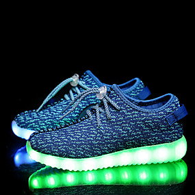 cheap Clearance-Boys' / Girls' Comfort Tulle Athletic Shoes Little Kids(4-7ys) / Big Kids(7years +) Lace-up / LED Pink / Blue / Green Spring / Fall