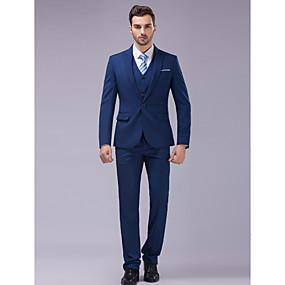 رخيصةأون Prom Suits-أزرق قياس نحيل دعوى - ذروة نحيلة Single Breasted One-button / بدلة