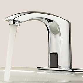 cheap Induction Faucets-Bathroom Sink Faucet - Touch / Touchless Chrome Centerset One Hole / Hands free One HoleBath Taps