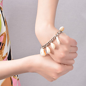 baratos Pulseira de Charme-Mulheres Pulseiras com Pendentes Borla Conchas Pulseira de jóias Prata / Dourado Para Festa Diário Casual Praia