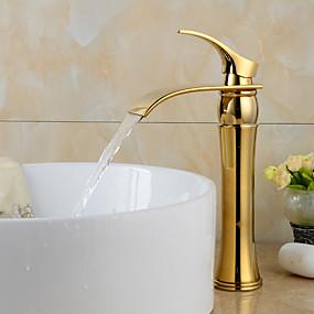 abordables Offres de la Semaine-Robinet lavabo - Jet pluie Ti-PVD Diffusion large 1 trou / Mitigeur un trouBath Taps