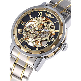 cheap National promotion-WINNER Men's Skeleton Watch Wrist Watch Mechanical Watch Automatic self-winding Stainless Steel Silver Hollow Engraving Analog Luxury - Golden