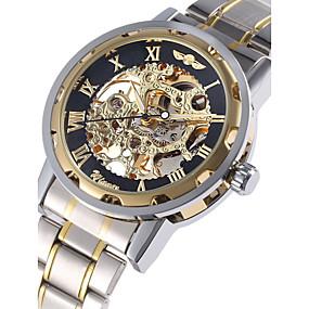 baratos Marcas de Relógios-WINNER Homens Relógio Esqueleto Relógio de Pulso relógio mecânico Automático - da corda automáticamente Aço Inoxidável Prata Gravação Oca Analógico Luxo chique - Dourado