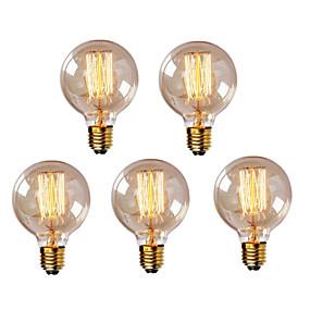 billige Glødelampe-HRY 5pcs 40W E26 / E27 G95 Varm hvit 2300k Kontor / Bedrift Mulighet for demping Dekorativ Glødende Vintage Edison lyspære 220-240V