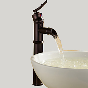 hesapli İndirim Musluklar-Banyo Lavabo Bataryası - Şelale Yağlı Bronz Lavabo Teknesi Tek Delik / Tek Kolu Bir DelikBath Taps