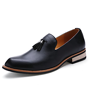 cheap Men's Shoes-Men's Formal Shoes Nappa Leather Fall / Winter British Loafers & Slip-Ons Walking Shoes Black / Brown / Red / Wedding / Party & Evening