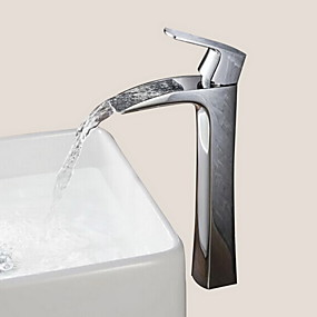 abordables Chrome Series-Robinet lavabo - Jet pluie Chrome Set de centre 1 trou / Mitigeur un trouBath Taps