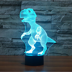 cheap LED Indoor Lights-Dinosaur Touch Dimming 3D LED Night Light 7Colorful Decoration Atmosphere Lamp Novelty Lighting Light