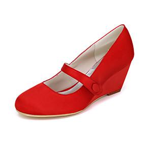 cheap Women's Wedges-Women's Heels Wedge Heels Wedge Heel Buckle Satin Spring / Summer Pink / Champagne / Ivory / Wedding / Party & Evening