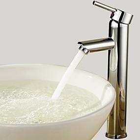 abordables Offres de la Semaine-Robinet lavabo - Rotatif Chrome Vasque 1 trou / Mitigeur un trouBath Taps