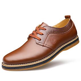 baratos Oxfords Masculinos-Homens Sapatos formais Pele Primavera Casual Oxfords Caminhada Preto / Marron / Casamento / Sapatos de couro / Sapatos Confortáveis / EU40