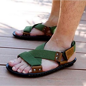 baratos Sandálias Masculinas-Homens sapatos Náilon Lona Verão Sandálias para Casual Preto Verde