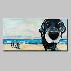 hesapli Hayvan Resimleri-Hang-Boyalı Yağlıboya Resim El-Boyalı - Pop Art Modern Avrupa Tipi Çerçeve ile birlikte / Gerilmiş kanvas