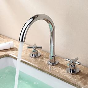 billige Ugentlige tilbud-Baderom Sink Tappekran - Utbredt Krom Udspredt To Håndtak tre hullBath Taps