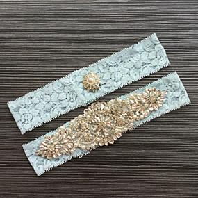 billige Strømpebånd til bryllup-Blonder Klassisk / Mote Bryllupsklær Med Rhinsten / Blonder Strømpebånd