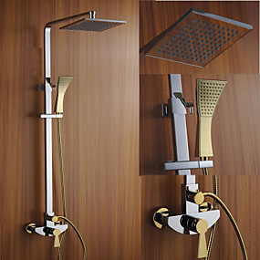 povoljno Slavine-Slavina za tuš - Suvremena Chrome Zidne slavine Keramičke ventila Bath Shower Mixer Taps / Brass