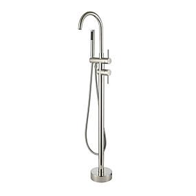 billige Rabatt Kraner-Badekarskran - Moderne Nikkel Børstet Romersk kar Keramisk Ventil Bath Shower Mixer Taps / To Håndtak et hull