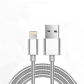 abordables iPhone Cable y Cargadores-Rayo de Apple / Iluminación Cable <1m / 3ft Normal / Trenzado Aluminio / Metal Adaptador de cable USB Para iPhone 7 / iPhone 7 Plus / iPad