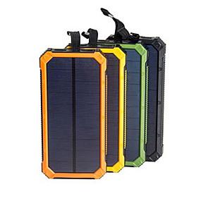 billige Eksterne batterier-solenergi bank vanntett 16000mah solar lader dual usb porter ekstern lader powerbank for smarttelefon med led lys