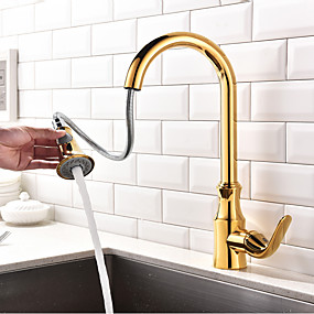 cheap Kitchen Faucets-Kitchen faucet - Single Handle One Hole Ti-PVD Pull-out / ­Pull-down / Standard Spout / Tall / ­High Arc Centerset Contemporary / Art Deco / Retro / Modern Kitchen Taps
