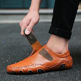 Χαμηλού Κόστους Ανδρικά Παπούτσια-Ανδρικά Νάπα Leather Άνοιξη / Καλοκαίρι / Φθινόπωρο Καθημερινό / Ανατομικό Μοκασίνια & Ευκολόφορετα Περπάτημα Μαύρο / Καφέ