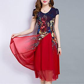 povoljno Crvene haljine-Žene Veći konfekcijski brojevi Izlasci Šifon Haljina - Više slojeva Print, Cvjetni print Midi Do koljena