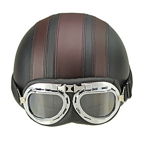 cheap Motorcyle Helmets-Motorcycle Helmet Open Face Visor Motocross Motor Helmets With Goggles Scarf Adjustable For Hare Retro Outdoor Cycling brown