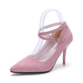 billige Pumps-Dame Høye hæler Stiletthæl Spisstå Spenne PU Trendy støvler / Club Sko / formell Sko Gange Vår / Sommer Svart / Rød / Rosa / 3-4