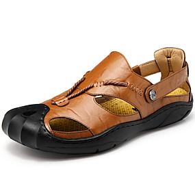 baratos Sandálias Masculinas-Homens Sapatos Confortáveis Pele Primavera / Verão Sandálias Aventura Preto / Castanho Escuro / Marron / Atlético / Casual / Ao ar livre / EU40