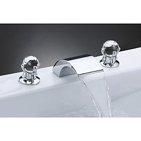 cheap 90% OFF-Bathroom Sink Faucet - Waterfall Chrome Widespread Two Handles Three HolesBath Taps
