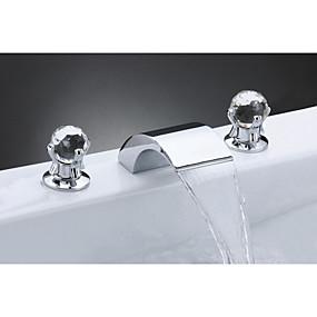 povoljno 80% SNIŽENO-Kupaonica Sudoper pipa - Waterfall Chrome Slavine s tri otvora Dvije ručke tri rupeBath Taps / Nehrđajući čelik