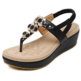 cheap Wedge Sandals-Women's Shoes Microfiber Spring / Summer Comfort / Light Soles Sandals Walking Shoes Wedge Heel Round Toe Rhinestone / Rivet Black / Almond / Wedge Heels