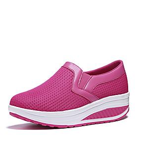 baratos Sapatos Esportivos Femininos-Mulheres Mocassins e Slip-Ons Plataforma Ponta Redonda Tule Caminhada Verão / Outono Azul Escuro / Cinzento / Fúcsia
