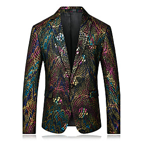 cheap Daily Deals-Men's Party / Daily / Casual Formal / Street chic / Sophisticated Spring / Fall Regular Blazer, Rainbow Notch Lapel Long Sleeve Velvet / Sequined Print Rainbow XXL / XXXL / 4XL
